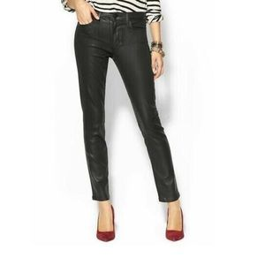 JOE'S JEANS Jet Black Mid-Rise Skinny Coated Denim